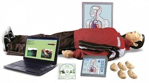 """Т28к """"Максим В/Р"""" Тренажёр сердечно-лёгочной и мозговой реанимации взрослого и ребёнка, с учебным и 4-мя тестовыми режимами, обучающей компьютерной анимационной программой, цифровым датчиком объёма и скорости вдыхаемого воздуха, в комплекте с сумкой"""