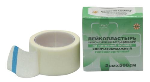LEIKO, х/б нетканый лейкопластырь 2*500 см, катушка, в инд. уп.