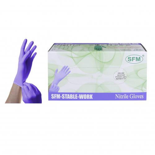 Нитриловые смотровые перчатки текстурированные SFM AF, №50/500, р-р S