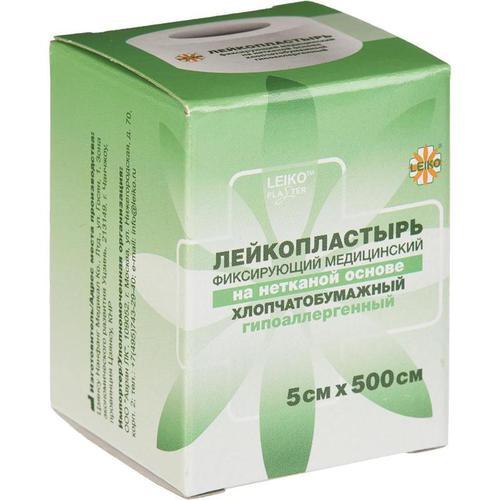 LEIKO, хлопчатобумажный неткан. лейкопластырь 5*500 см, кат. в инд. уп.