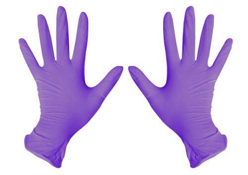 Перчатки смотровые нитриловые фиолетовые, размер М (упаковка 100 шт)