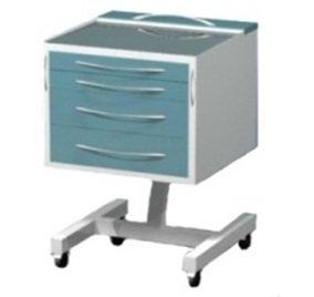 """Столик передвижной с 4 выдвижными ящиками на """"квадратной"""" опоре, на столешнице стекло"""