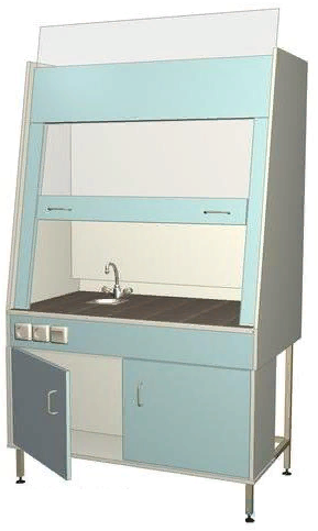 Шкаф вытяжной 096.01 (лабораторный с сантехникой 1110*700*1960)