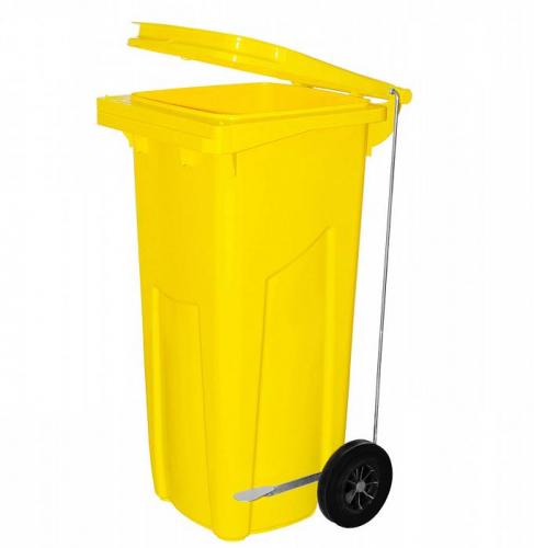 Бак желтый с педалью для отходов класса Б, 120 л