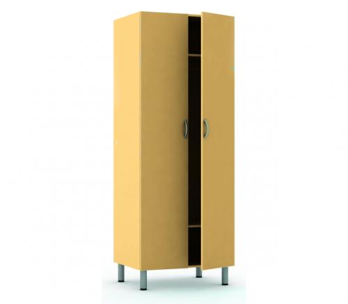 Шкаф для одежды двухстворчатый, с полкой для головных уборов, с полкой для обуви на четырех металлических опорах Ø