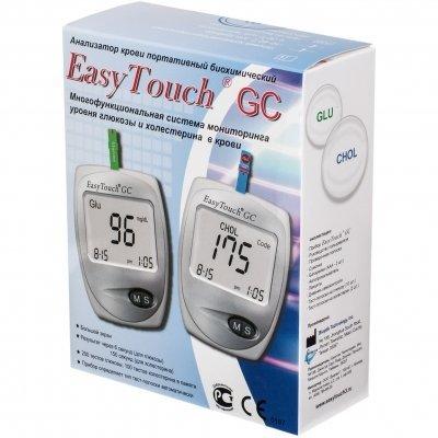 Анализатор крови портативный биохимический EasyTouch Анализатор глюкозы и холестерина EasyTouch GC (в комплекте ланцеты 25шт., тест-полоски на глюкозу 10шт., тест-полоски на холестерин 2шт.)