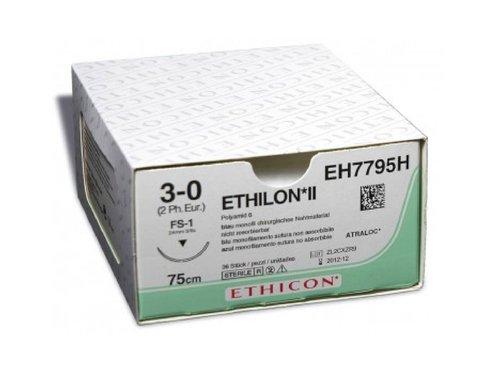 Этилон (Ethilon), 3-0, 45 см, синий прайм обр.-реж. 19 мм. 3/8, производства Ethicon