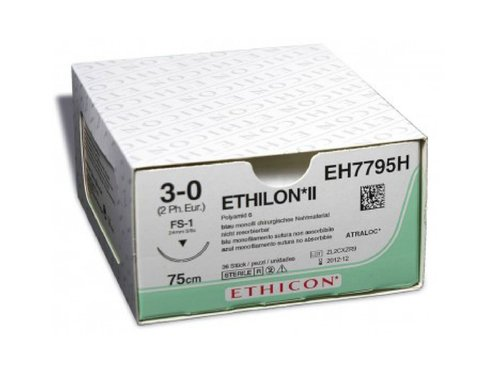 Этилон (Ethilon), 5-0, 45 см. синий прайм реж. 16 мм. 3/8, производства Ethicon