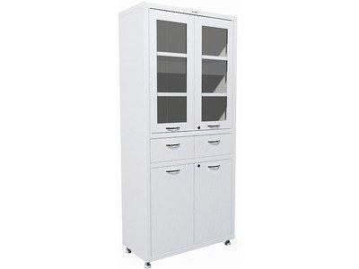 Шкаф двустворчатый для хранения для медикаментов, инструментов, больничных документов; верх стекло, низ металл, 2 ящика HILFE МД 2 1780 R-1