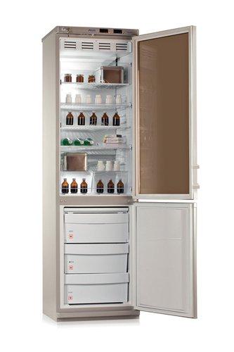 Холодильник лабораторный ХЛ 340 Позис, дверь стеклянная (прозрачная) с замком – в холодильнике, металлическая глухая – в морозильнике