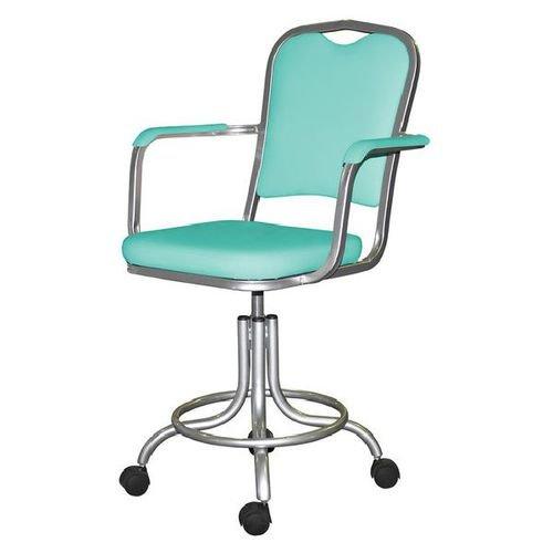 Кресло лабораторное КР09, опора для ног, колеса, спинка, подлокотники
