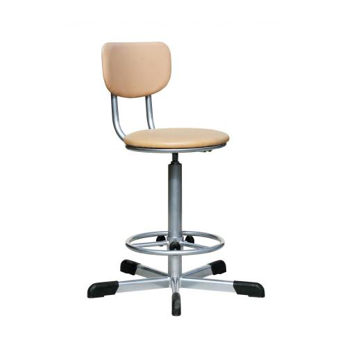 Кресло лаболаторное КР02, кольцо-опора для ног, колеса, спинка