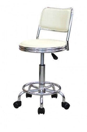 Кресло лабораторное КР06, кольцо-опора для ног, колеса, спинка