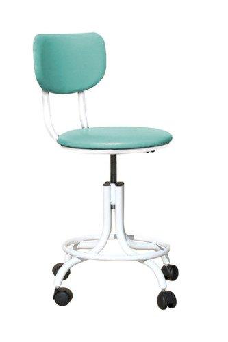 Кресло на винтовой опоре с кольцом для ног на мебельных роликах