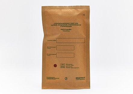 Крафт-пакет с индикатором коричневый, 100 шт., 75*150 мм