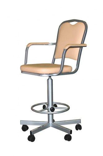 Кресло лабораторное КР02-1, опора для ног, колеса, спинка, подлокотники