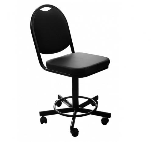 Кресло лаболаторное КР15, кольцо-опора для ног, колеса, спинка