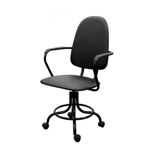 Кресло лаболаторное КР14, кольцо-опора для ног, колеса, спинка, подлок.