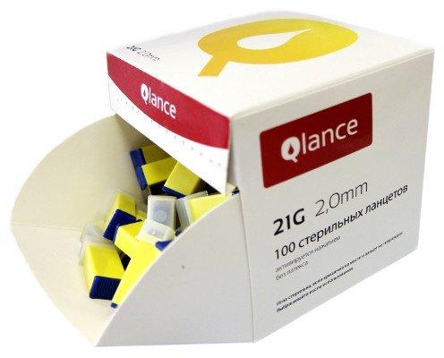 Ланцет автоматический Qlance Special, перо 0,8 мм, глубина прокола 2,0 мм (желтый, уп-ка 100 шт.) /20/