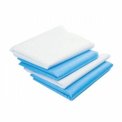 Простыня 70*80 см, нестерильная, SMS, 50 шт, голубая/белая