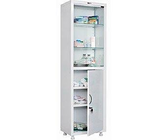Шкаф медицинский МД 1 1657/SG. Описание:одностворчатый для медикаментов и инструментов, верх - стекло, низ - металл, 1655/1755*x570x320 HILFE