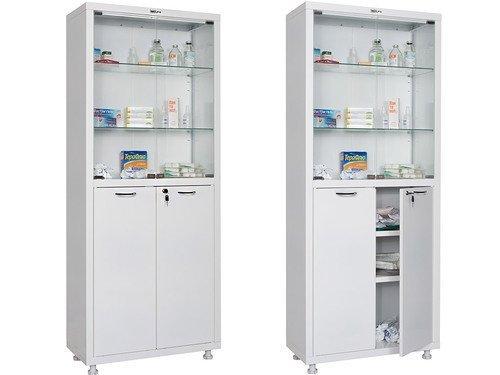 Шкаф двустворчатый для медикаментов и инструментов, верх - стекло, низ - металл HILFE МД 2 1670/SG