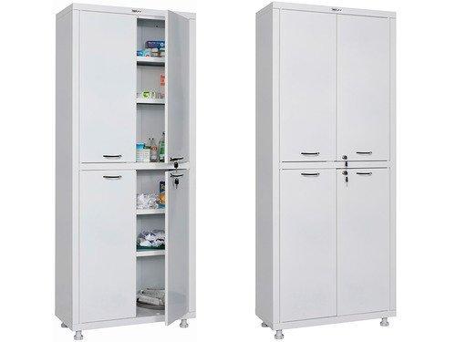 Шкаф двухстворчатый для медикаментов и инструментов, двери - металл 1655/1755x700x320  мм HILFE МД 2 1670/SS