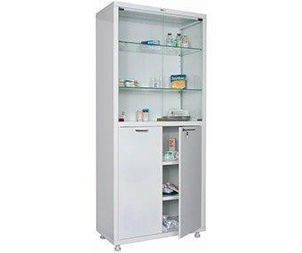 Шкаф двустворчатый для медикаментов и инструментов, верх - стекло, низ - металл HILFE МД 2 1780/SG
