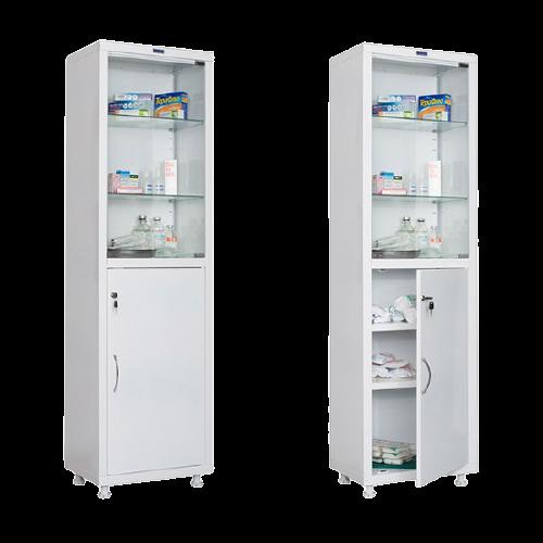 Шкаф МД 1 1650/SG HILFE (одностворчатый для медикаментов и инструментов, верх-стекло, низ-металл) по ТУ 9452-005-47270095-2015