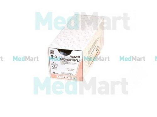 Монокрил (Monocryl),  4-0, 45 см, н/окр, Прайм обр.-реж. 19 мм, 3/8 производства Ethicon