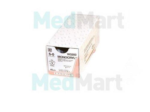 Монокрил (Monocryl) 5-0, 45 см, н/окр прайм обр.-реж. 16 мм, 3/8, производства Ethicon