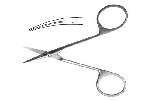 13-460-1 Ножницы: Operating глазные тупоконечные, вертикально - изогнутые, 113/115 мм