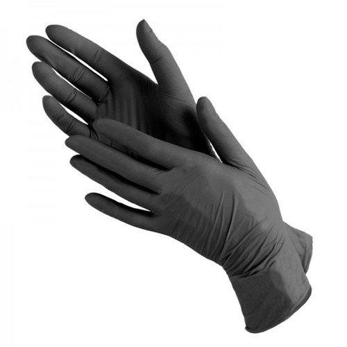 !Перчатки смотровые нитриловые черные (размер S, упаковка 100 штук) LN
