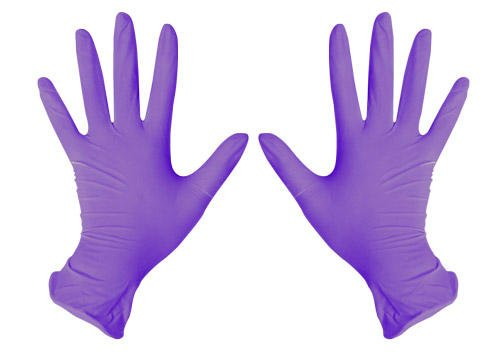 Перчатки SafeCare смотровые нитриловые фиолетовые (размер L, упаковка 200 штук), Малайзия