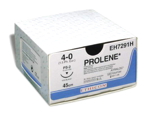Пролен (Prolene) 4-0, 45 см, синий прайм реж. 26 мм, 3/8, шовный материал Ethicon