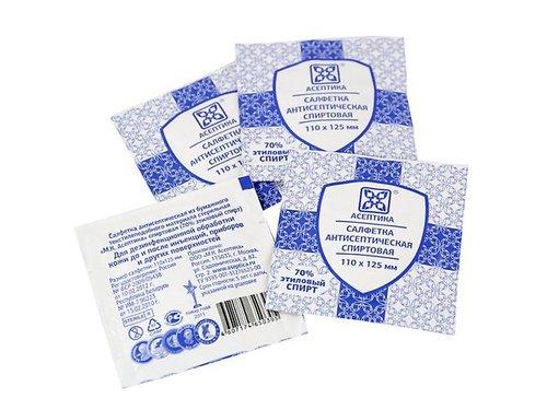 Асептика, салфетки дезинфицирующие прединъекционные №100, 110*125 мм
