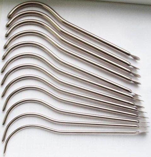 Бужи уретральные изогнутые жёсткие (комплект 12 шт.)