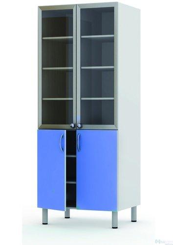 Шкаф-витрина двухстворчатый комбинированный (верхняя дверь стекло в алюминиевом профиле), с 5 полками. Шкаф на четырех  металлических опорах Ø 51 мм с регулировкой по высоте, 800*600*2000 мм