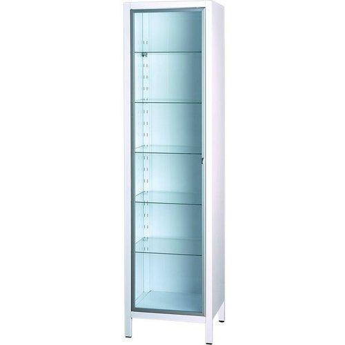 Шкаф медицинский 3 уровня витрина, одностворчатый, открывание направо, 350*400*1248мм