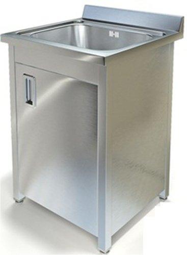 Тумба (ванна моечная) с одной емкостью  400х500х250 мм , с распашной дверцей, с полкой
