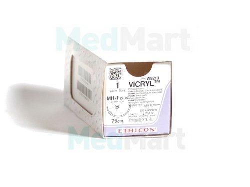 Викрил (Vicryl) 1, 100 см. фиолет. кол. масс. 80 мм. 1/2, шовный материал пр-ва Ethicon