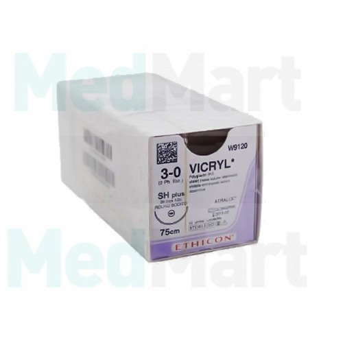 Викрил (Vicryl) 3-0, 75 см. фиолет. кол.-реж. 26 мм. 1/2, Шовный материал пр-ва Ethicon
