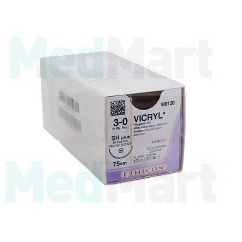 Викрил (Vicryl) 3-0, 75 см. фиолет. реж. 16 мм. 3/8, шовный материал пр-ва Ethicon