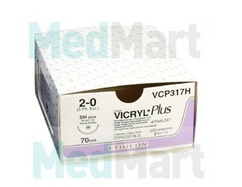 Викрил (Vicryl) ПЛЮС 2-0, 70 см. фиолет. кол. 27 мм. 5/8, шовный материал пр-ва Ethicon