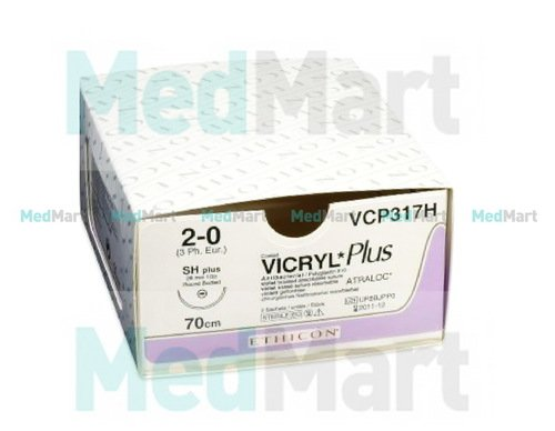 Викрил (Vicryl) 4-0, 45 см. н/окр. прайм реж. 16 мм. 3/8, шовный материал пр-ва Ethicon