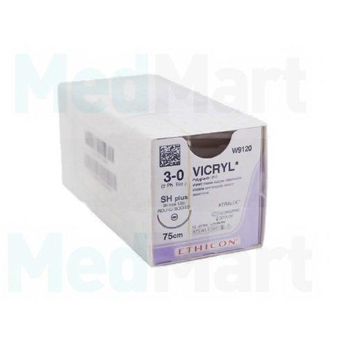 W907 Викрил фиолетовый М1.5 (4/0) 45 см игла колющая BB-PLUS, уплощенный кончик, 3/8 окружности, 17 мм, уп/12 шт., шовный материал пр-ва Ethicon