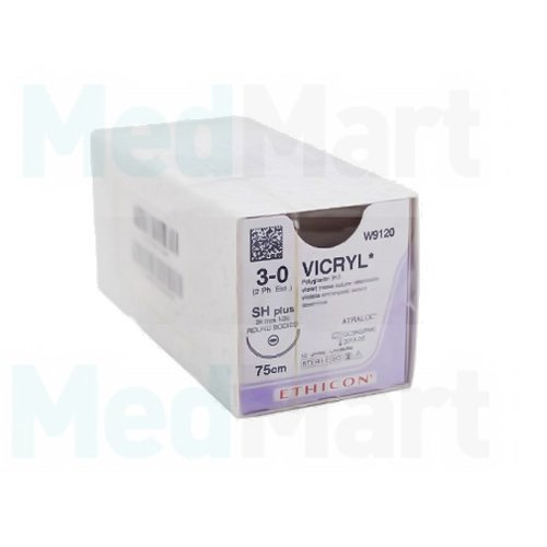 Викрил (Vicryl) 0, 75 см. фиолет. обр.-реж. 40 мм. 1/2, шовный материал пр-ва Ethicon